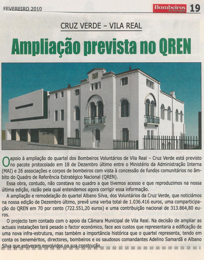 """Notícia sobre ampliação do quartel no jornal """"Bombeiros de Portugal"""" - edição de Fevereiro 2010"""