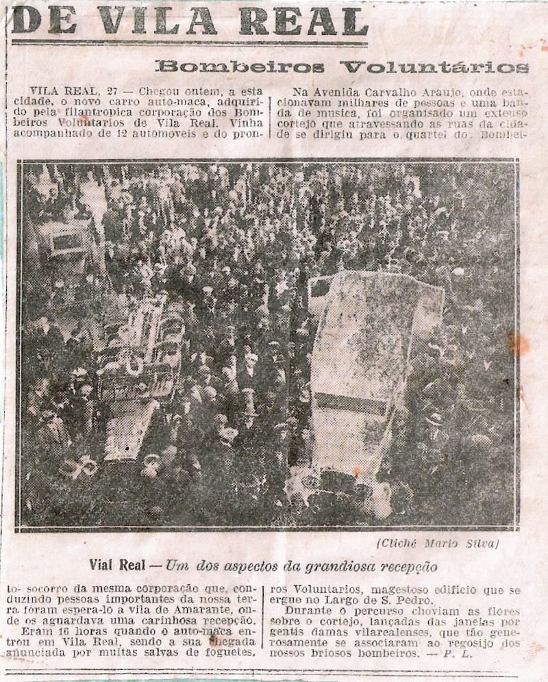 """Notícia sobre a chegada da """"Maria Alice"""" à Vila Real"""