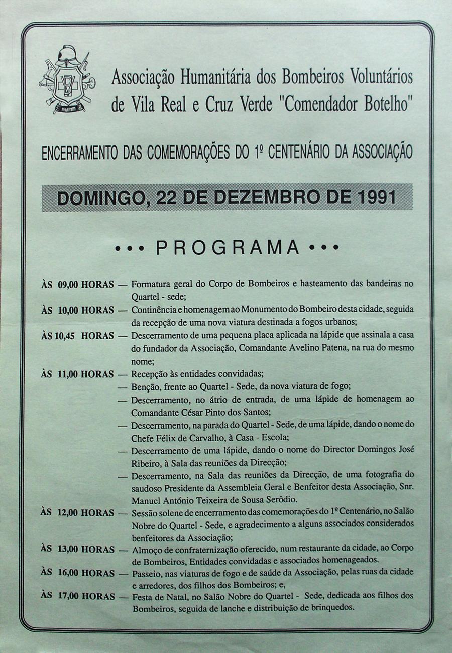 programa encerramento centenario