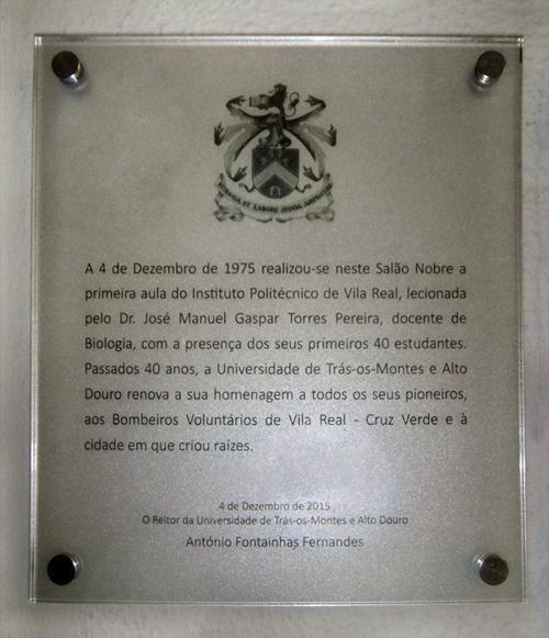 Placa Comemorativa dos 40 anos da 1ª aula do IPVR